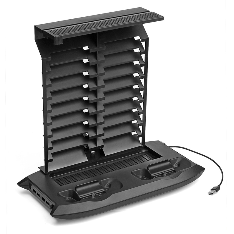 Video Game Console Vertical Stand Cooling Fan Joystick Charger Stand 4 Ports USB Hub 18 Game