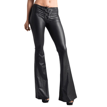 Sexy Lace Faux Leather Flared Pants 1