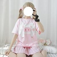 Summer Harajuku Japanese Sweet Lolita Cute Pig Splice T shirt Short Sleeve Tops Women's Cartoon Tees Kawaii Cotton Shirts
