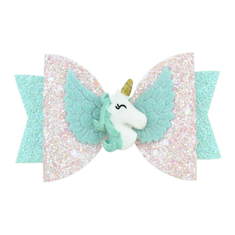 Hair Bows for Girls Shiny Glitter Hair Clips '' Cute Elk Unicorn Hairpins Kids Hair Accessories Princess Hair Accessory