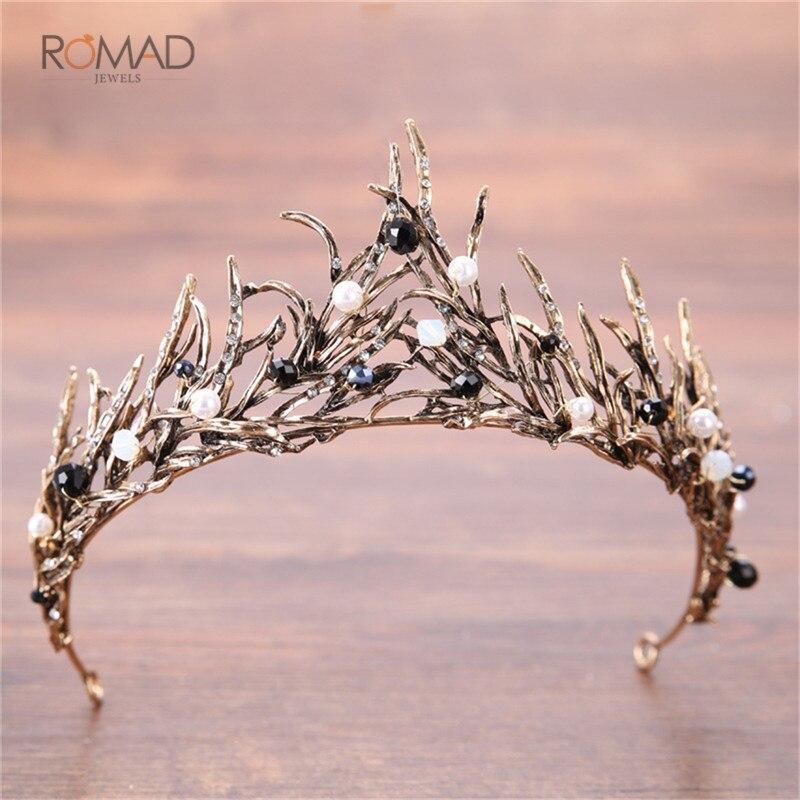 Romad Vintage Rhinestone Pearl Bridal Tiara Baroque Crown Tiaras Hair Accessories Wedding Bride Headbands in Hair Jewelry from Jewelry Accessories
