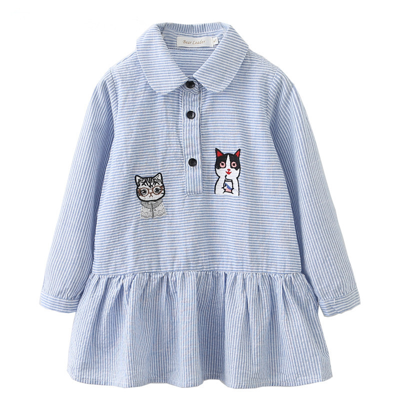 Lollas Kids Dresses for Girls Clothes Cartoon Cats cartoon long sleeve stripewind 100% Cotton Children Princess Dress