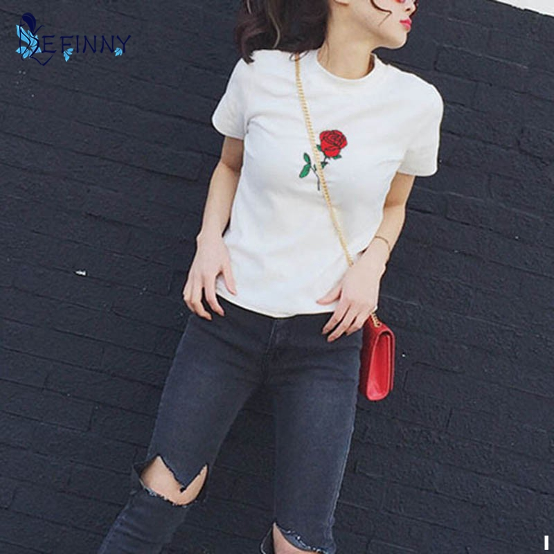 EFINNY Women T Shirts Summer Embroidery Rose Short Sleeve O Neck Tee Shirt Tops Vetement Femme Camisetas Mujer 2017