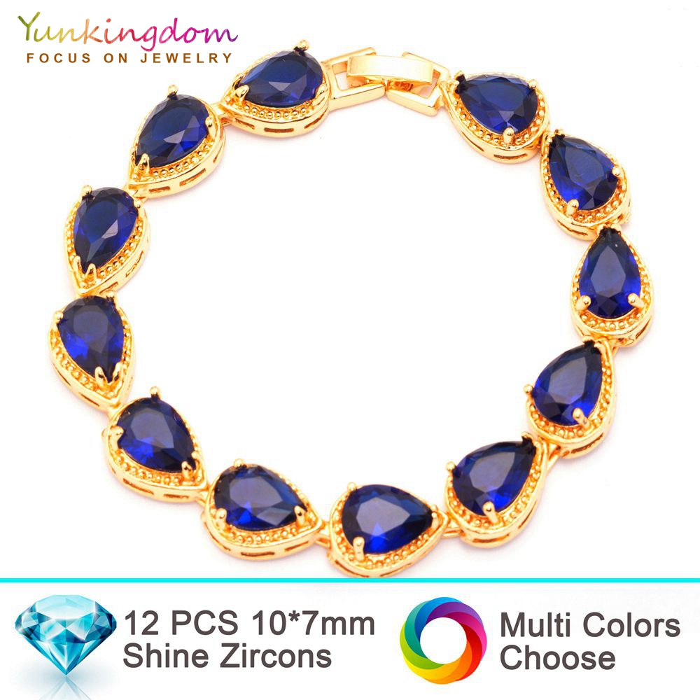 Yunkingdom super luxury brand Bracelets&Bangles for women inlay water drop   zircon wedding Jewelry  gold color Bracelet