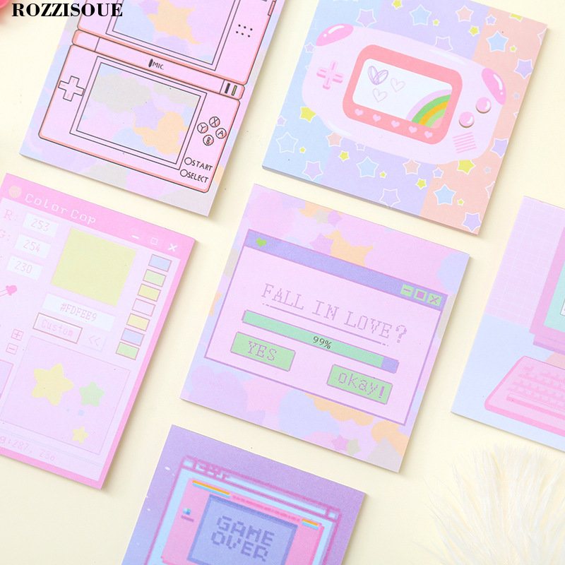 US $2 9 53% OFF 3PCS Kawaii Computer Game Memo Pad Machine Self adhesive  Planner Post It Cute Sticky Notes Notepad School Stationery Supplies-in  Memo