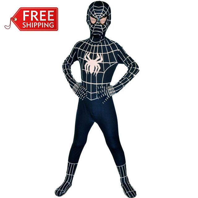 black spiderman costume kids halloween costumes for kids children superhero spider man cosplay zentai full bodysuit custom