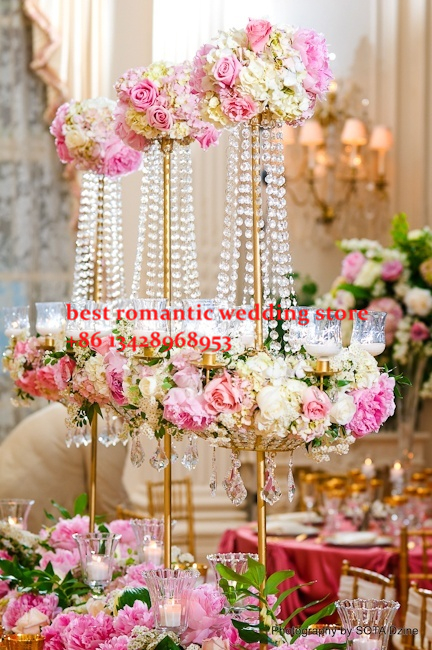 Free shipment /5PCS/lots crystal wedding centerpiece flower - Home Decor