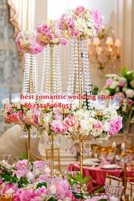 Dërgesë falas / 5PCS / shumë kristal dasmës qendër lule qëndrim - Dekor në shtëpi
