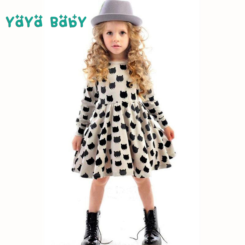 Long Sleeve Girls Dress 2018 New Cat Printed Kids Dresses for Girls Casual Autumn Spring 2 3 4 5 6 7 Years Childrens Clothing 2 3 4 5 6 7 8 years girls dress thick velvet autumn winter kids dresses for girls ruffles long sleeve children princess clothing