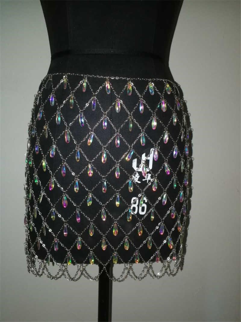 ... Metal Chain Rhinestone Tassel Skirt Women Sexy Hollow Patchwork Skirt  Night Club Fringed Clothing Beach Sequined 19cc79a2da52