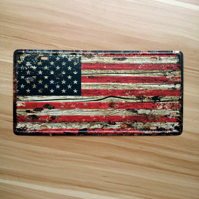 New USA Flag Retro Metal tin sign vintage painting iron Plaque bar pub cafe shop wall decoration New York poster License Plate