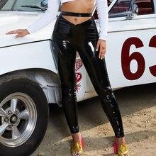 Diwish Women Moto & Biker Брюки-карандаш с высокой талией Плоские черные длинные брюки Сексуальная