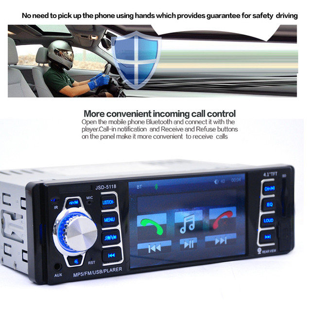 HD 4.1-inch USB Car Bluetooth 1 DIN Car In-Dash Stereo Audio FM Receiver  With USB / SD / AUX MP5 Radio Player