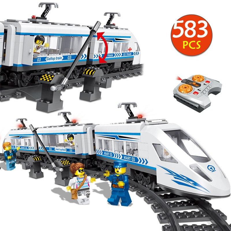 583 pcs Blocos Technic RC Compatibe LegoINGLYS Controle Remoto Trilho de Trem da Estação Ferroviária Da Cidade Blocos Brinquedos Para Meninos Presente