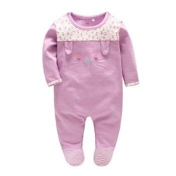 Pintoresco de la infancia 0-3 meses bebé niña ropa de algodón ropa de bebé  púrpura gato mono fb693ff7e12d