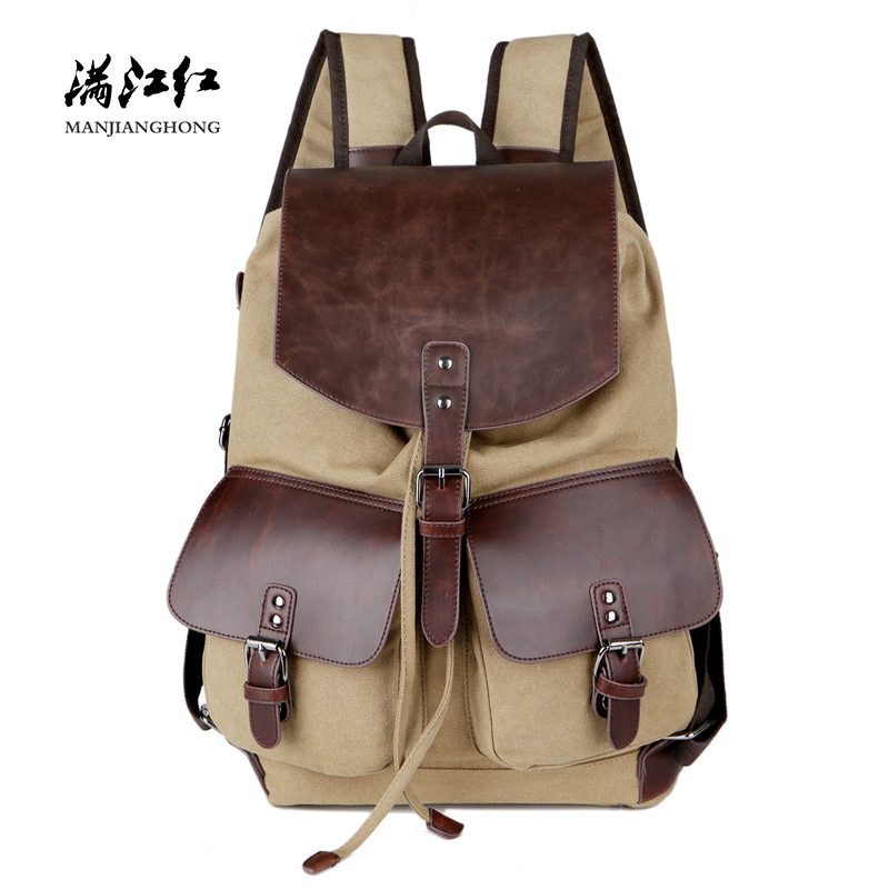 New Canvas Men Travel Backpack Vintage Patchwork Leather Drawstring Backpack Male Large Casual School Bags For Teenage Boys 1351