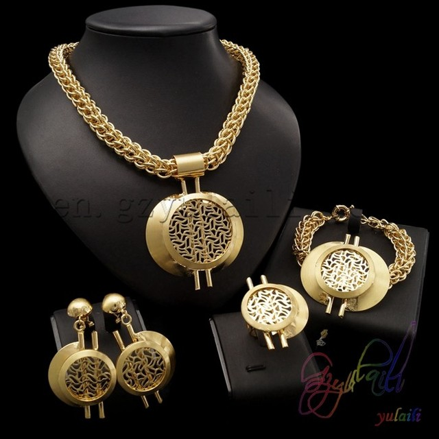 stainless steel chain jewelry set 22ct gold plating jewellery sets