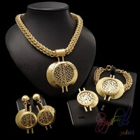 stainless steel chain jewelry set 22ct gold plating jewellery sets high end costume jewelry
