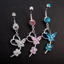 Brand New  Body Piercing Jewelry Dangle Belly Button Ring Bar Navel Rings Butterfly Tassel Belly Button Ring Free Shipping цена и фото