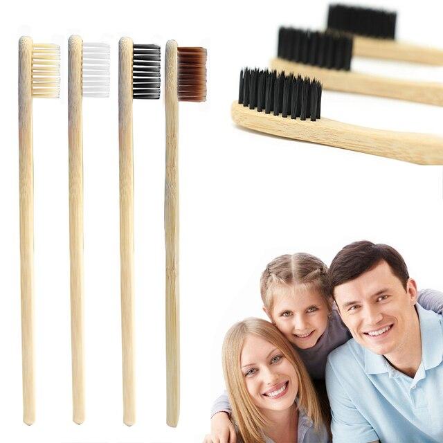 4 piezas de cepillo de dientes de bambú ecológico cepillo de dientes herramienta de cuidado bucal con mango de madera