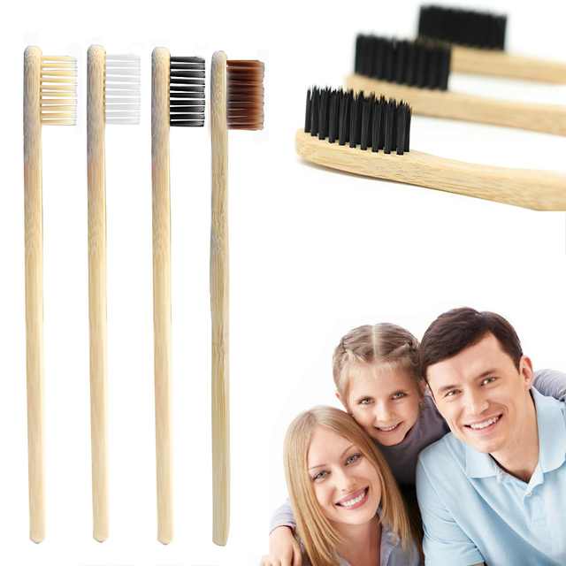4PCS Environmentally Bamboo Toothbrush Novelty Tooth Brush Wooden Handle Oral Care Tool