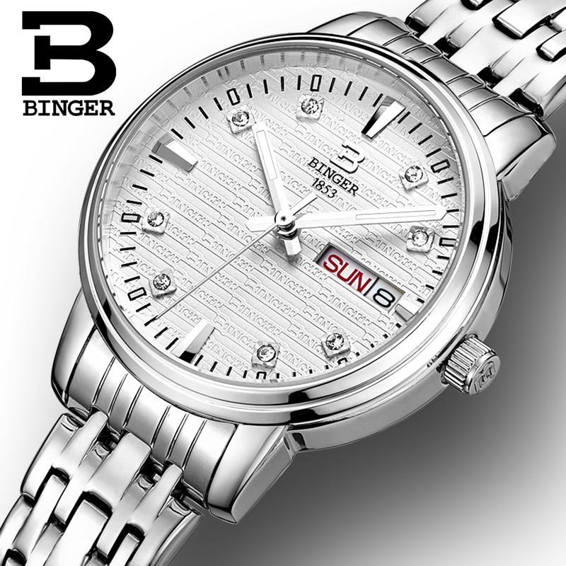 Switzerland Binger Women s watches fashion luxury watch ultrathin quartz glowwatch full stainless steel Wristwatches B3036G