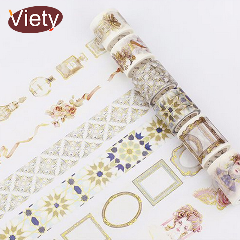 1.5-4cm*5m Vintage gold stamping rococo washi tape DIY decoration scrapbooking planner masking tape adhesive tape kawaii