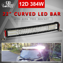 O LIGHT Led Light Bar 12D 22 Curved Work Light 12V 384W 4-Rows for 4x4 Trucks ATV SUV Tractor Car Roof Offroad Driving LED Bar