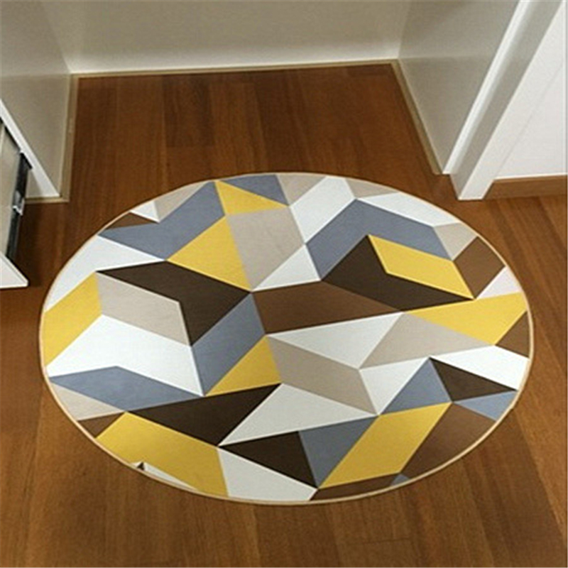 1 Piece Modern Round Carpet For Living Room And Bedroom Simple Style Large Mat Soft Washable