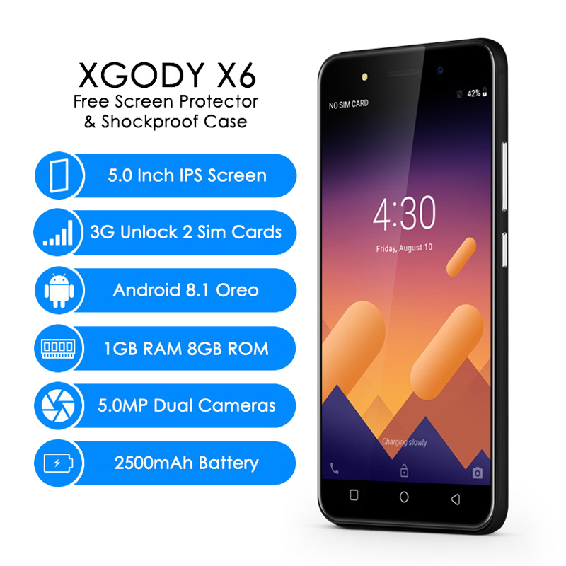XGODY 3G Unlocked Smartphone 5.0 Inch Celular Android 8.1 Oreo Mobile Phone MT6580M Quad Core 1GB+8GB 2500mAh 5.0MP Cellphone X6