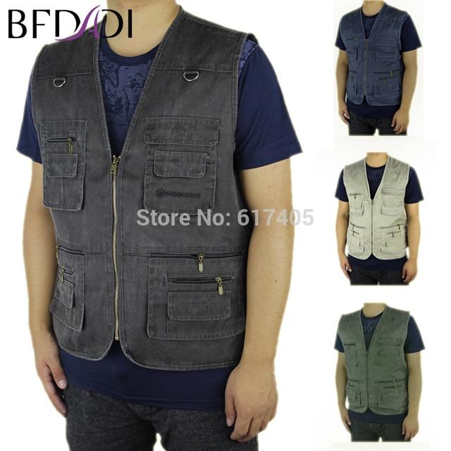 bde9270cbcf BFDADI 2018 New Summer Men s Jacket Denim Vest Casual Multi-pocket  Waistcoat Men Plus Size 6xl-10xl Free Shipping