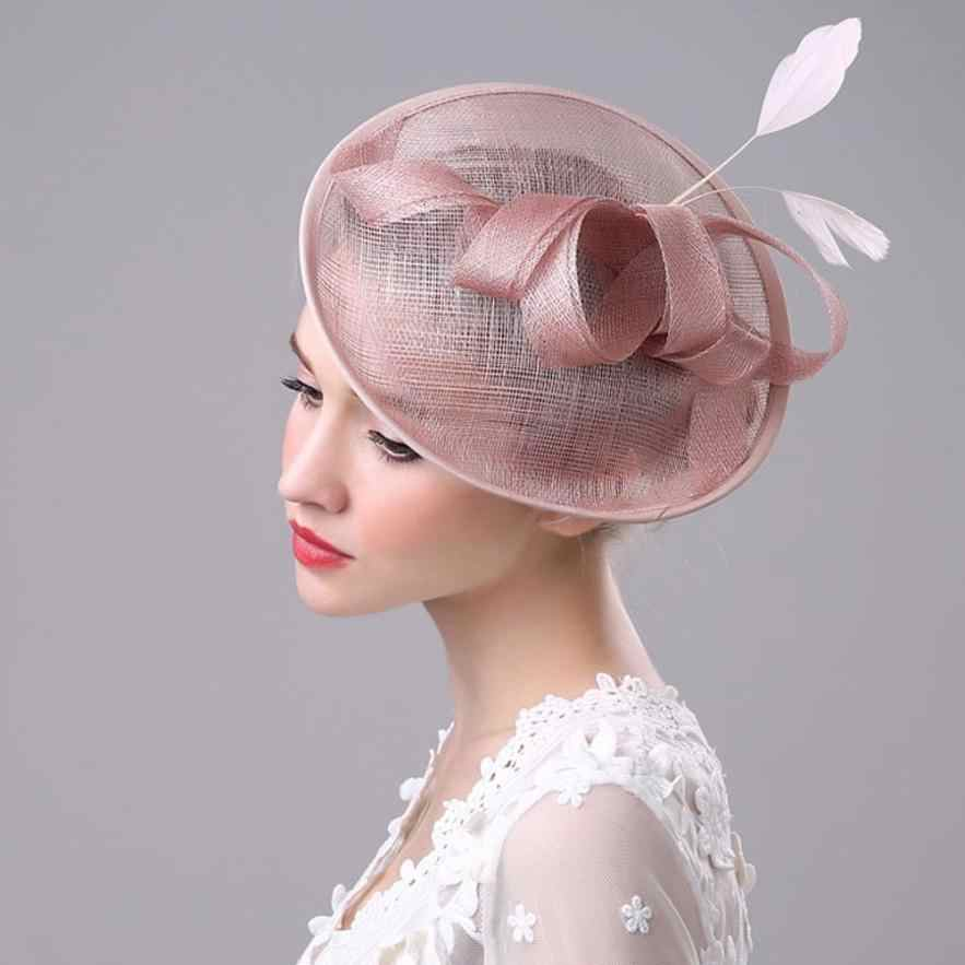 festival women Fashion Wedding Women Fascinator Penny Mesh Hat Ribbons And Feathers Hat  for women   7.3