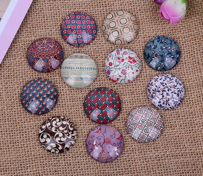 24pcs 12mm/14mm/16mm Linen Finish Pattern Round  Handmade Photo Glass Cabochons & Glass Dome DIY Handmade Cabochon Bead Settings