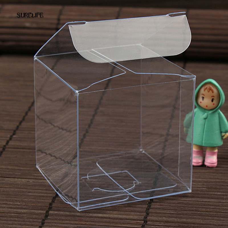 50pcs Square Transparent PVC Box Party Jewelry Candy Plastic Storage Box Clear Plastic Macaron Gift Packaging Boxes Case