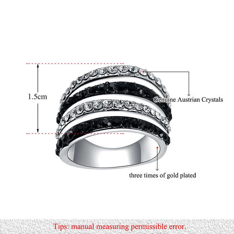Lokaer or blanc couleur à la mode anneaux noir et blanc cristal autrichien pavé réglage bague bijoux pour les femmes de fête R150230233P