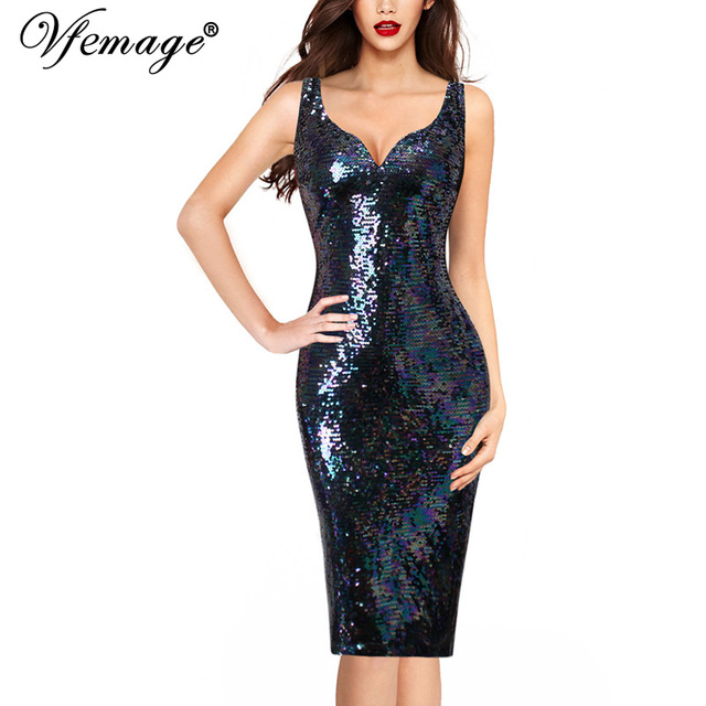 Vfemage Womens Sexy V Neck Sequin Sparkle Shiny Cocktail Party Club Special  Occasion Slim Fitted Bodycon ea9cf749c