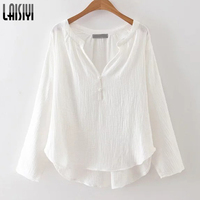 LAISIYI 2017 Women Autumn Blouse White Beach Shirt Long Sleeve Casual Top Deep V Neck Blouses
