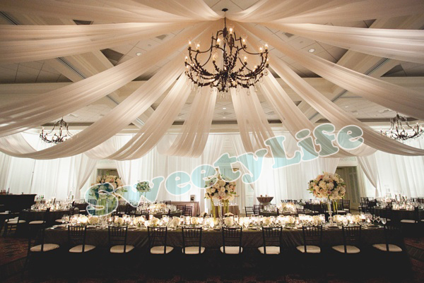 Wedding 10 Pieces Ceiling Drape Canopy Drapery For Decoration Fabric 1 4m 12m Per Piece Roof Polyester Knitted
