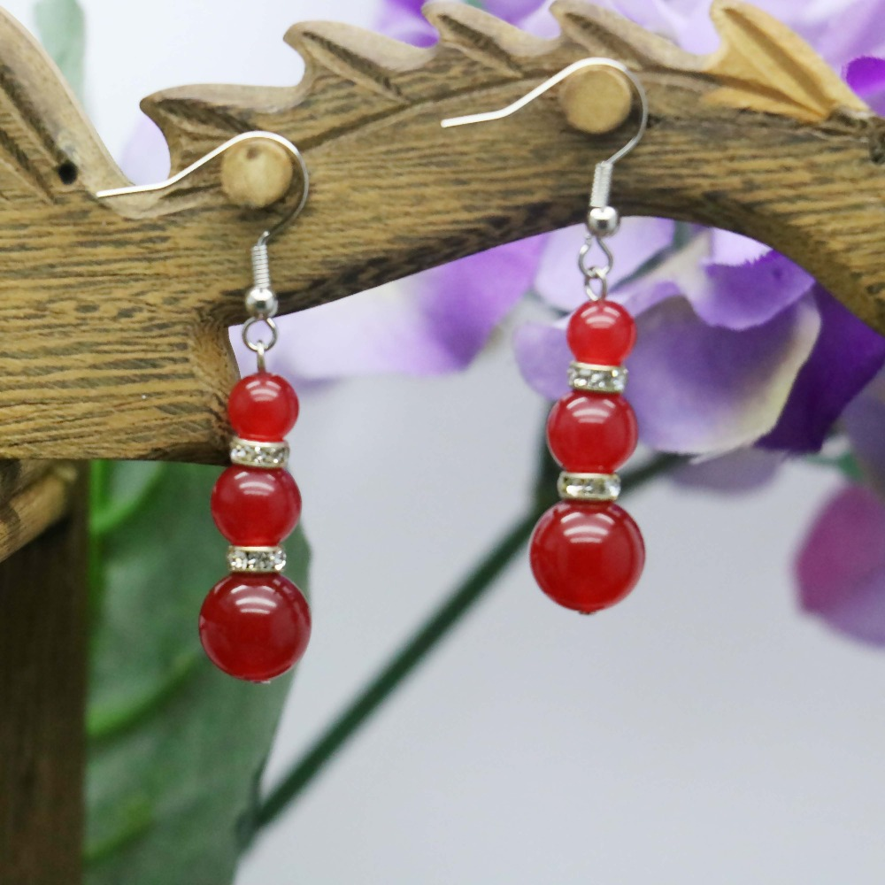 Beautiful Gifts For Women Part - 46: Aliexpress.com : Buy Beautiful 3 Beads Chalcedony Stone Beads Earrings Gifts  For Women Girls Ladies Earbob Eardrop Fashion Jewelry Making Design From ...
