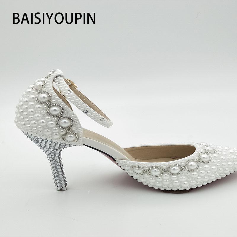 7fecdc6bfa30 2018 New Summer White Pearl Diamond Wedding Shoes High Heels Bride ...