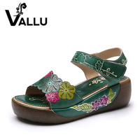 2017 Ethnic Style Genuine Leather Women Sandals Flat Platform Mixed Color Women Summer Shoes