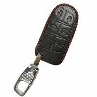 Cuoio 5 Pulsanti Remote Key Fob Holder Case Cover Shell Protezione Della Pelle per Jeep Grand Cherokee Dodge Chrysler