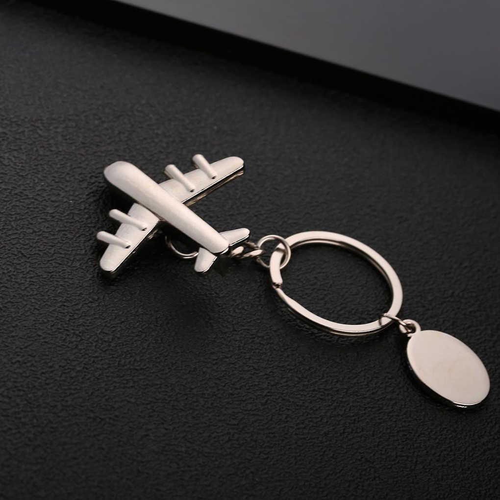 Unisex 3D avión etiqueta colgante llavero Metal llavero avión decoración regalo accesorio