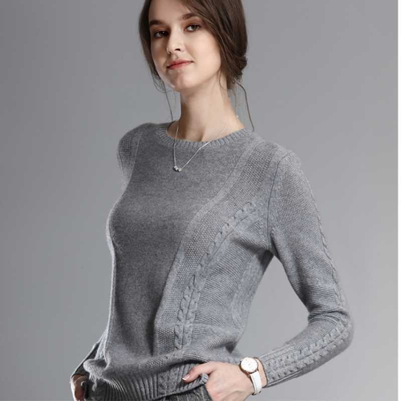 JECH Women 2017 Autumn Winter Fashion O-Neck Sweaters Cashmere Femme Jumpers Long Sleeve Warm Soft Casual Women Pullover