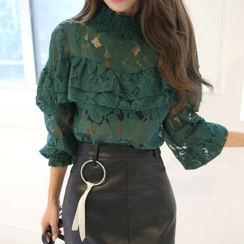 New Fashion 2017 Spring Noble Women Hollow Lace Blouse Shirt Long-sleeve Ruffles Shirt Female Women Tops Blusa De Renda S2