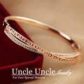 Rose Gold Plated Austrian Rhinestones Double-Deck Cross Retro Rome Style Pave G Lady Bangle Bracelet Wholesale