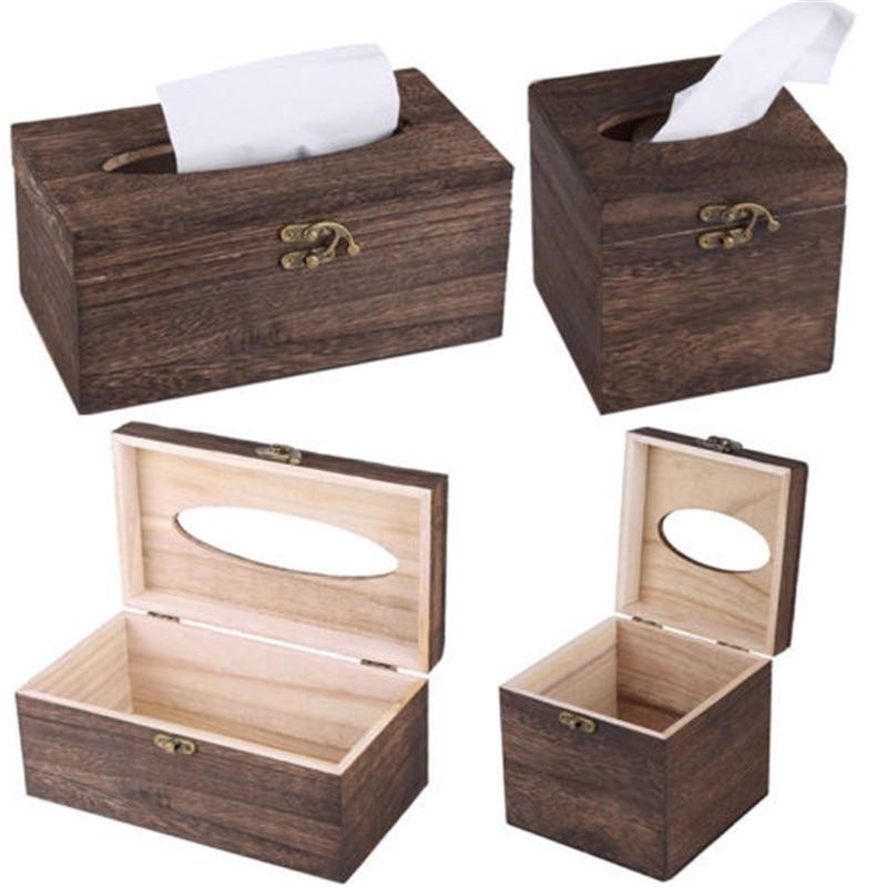 Useful Wooden Retro Tissue Box Cover Paper Napkin Holder Case Home Car Decor New