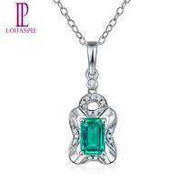 Lohaspie Solid 18K White Gold 0 58ct Natural Emerald Single Cut SI1 Diamonds Pendant Necklace For