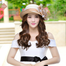 Summer Sun Hats Straw Hat Female Womens Fashion Cap Girls Flower Raffia Travel Caps B-7648