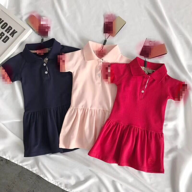 2018 Baby Girl Summer Tennis Dress Solid Color Girls Sports Short Sleeve Dresses Kids Polo Pleated Dress Breathable Clothing new children s tennis badminton dress girls breathable quick drying summer tennis suit sports dress with short pants
